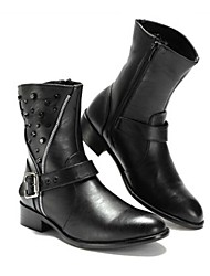 Men's Spring Summer Fall Winter Comfort Fashion Boots Leather Outdoor Casual Party & Evening Low Heel Rivet Zipper Black