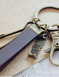 """""""Shakespeare's Love Letter"""" Bronze Key Ring with Hide Rope"""
