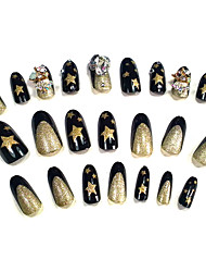 24PCS Golden Star Nail Art Forma strass