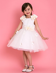 Formal Evening / Wedding Party / Vacation Dress - White A-line Jewel Knee-length Tulle