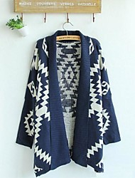 Women's New  Geometric Pattern Cardigan Sweater Wool Sweater Cardigan Outwear