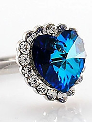 Chaopinshijia Titanic Heart Of Ocean Zircon de coeur de pêche Ring (Bleu)
