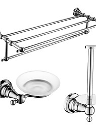 3 Pcs Bathroom Accessory Sets,Brass Material Chrome Finish,Bath Accessories