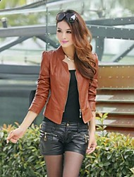Women's Stand Collar PU Bomber Jacket