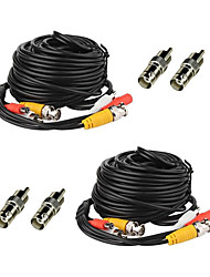 2 Pack 50ft Security Camera Audio Video Power Cables RCA Wires with bonus BNC RCA Connectors