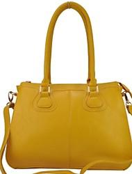 Mulheres Basta Terra Cor amarelo PU Leather Tote Bag