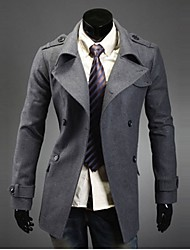 REVERIE UOMO Men's Double-Breast Gray Wind Coat