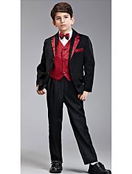 Huit pièces en noir et rouge Ring Bearer Suit Tuxedo