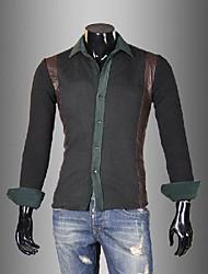 Men's Long Sleeve Shirt , Lycra/Nylon/Organic Cotton Casual Pure