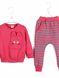 Girl's Clothing Set,Striped Polyester Winter