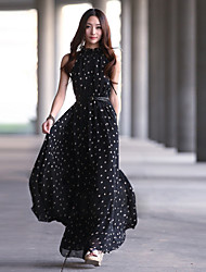 Women's Black/Wine Polka Dot Maxi Dress