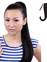 Japanese Kanekalon Fiber Ribbon Tied Black Horsetail Ponytail Straight Hairpiece