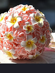 """Wedding Flowers Round Roses Bouquets Wedding / Party/ Evening Champagne Satin 7.87""""(Approx.20cm)"""