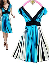 Women's Striped Blue Dress , Work Deep V Sleeveless Pleated/Ruched