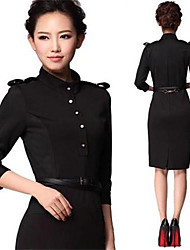 Women's New Fashion Elegant Stand Collar Black Half Sleeve Knee-length Dress with Belt