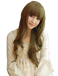 Women Long Wavy Light Brown Synthetic Full Bang Wigs