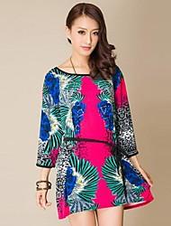 Women Explosion Models Big Yard Foreign Trade Dress Retro Pattern Rhinestone Seven Point Sleeve Dress(Random Pattern)