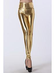 De las mujeres del oro de la alta cintura Leggings