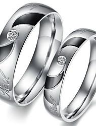 amantes da moda de aço inoxidável embutidos turbilhão zircão anéis par (2 peças)