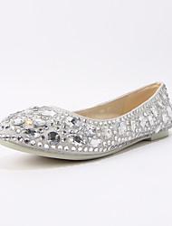 Couro de bom gosto Fechado Flats toe com strass partido sapatos (mais cores)