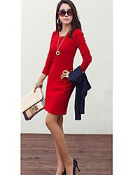 Elegante y sexy rojo color sólido Empalme Vestido ajustado Dexon Productos de la Mujer