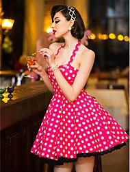 TS Vintage Холтер полька точек Свинг платье