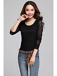 Yl1136 Lh Estilo coreano manga comprida Moda Renda Básica Shirt (Black)