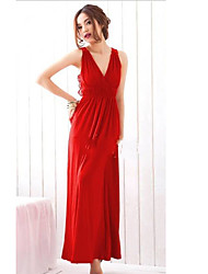 MH Hollow V шеи элегантное платье (красный)