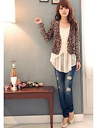 Women's Fashion Leopard Pattern Short Slim Blazer
