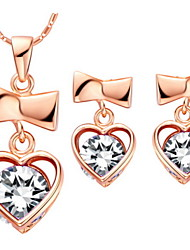 Heart Gold Silver Plated (Necklaces&Earrings) Wedding Jewelry Sets