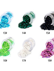 1PCS Hexagonal Glitter Tablets Nail Art Decorations NO.13-18(Assorted Colors)