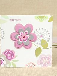 Pink Flower Design Square Side Fold Greeting Card for Mother's Day
