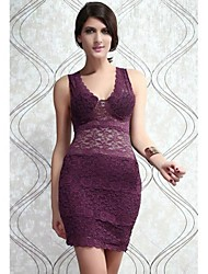 Women's Solid/Lace Purple Dress , Sexy/Bodycon Deep V Sleeveless Lace