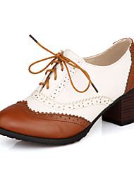 Leatherette Women's Chunky Heel Heels Oxfords Shoes with Lace-up(More Colors)