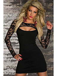 Girls Night Women's Color Block Black Dresses , Sexy / Casual / Party Mid Rise Long Sleeve