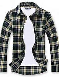 Men's Plaids Casual Shirt,Cotton Long Sleeve Brown / Green / Red