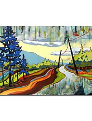 Hand Painted Oil Painting Landscape Cartoon Road with  Stretched Frame