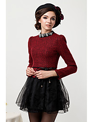 Women's Formal Vintage A Line Dress,Color Block Crew Neck Above Knee Long Sleeve Red / Black Polyester Spring