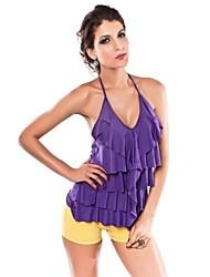 Women's Solid Purple T-shirt , Halter Sleeveless Ruffle/Layered