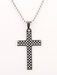 Personalized Gift Grid Cross Shaped Engraved Necklace