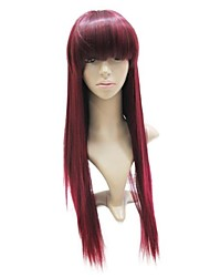Capless High Quality Synthetic Dark Red Long Straight Full Wig
