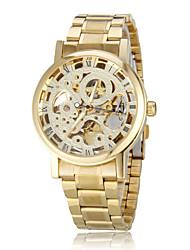 Men's Auto-Mechanical Retro Hollow Golden Dial Steel Band Wrist Watch