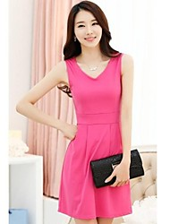 Women's Solid Black/Blue/Green/Pink/Red/Yellow Dress , Work V Neck Sleeveless