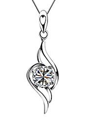 925 Sterling Silver CZ Collier Coeur amour de danse en cristal de la femme