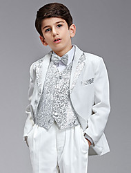 Seven Pieces White And Silver Ring Bearer Suit Tuxedo With Two Bow Ties