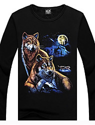 Herren 3D Mountains Snow Wolf Print Fleece gefüttert T-Shirt