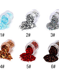 1PCS Hexagonal Glitter Tablets Nail Art Decorations NO.1-6(Assorted Colors)