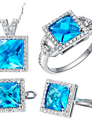 Square Blue Cubic Zirconia (Necklaces&Earrings&Rings) Gemstone Jewelry Sets