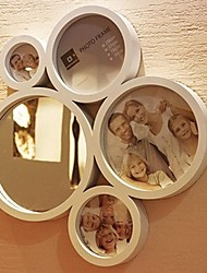 White ABS Photo Wall Frame Collection Set of 4 with Mirror