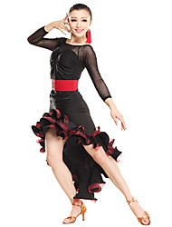Dancewear Sexy Tulle Ruffle Viscose Latin Dance Outfits(More Colors)